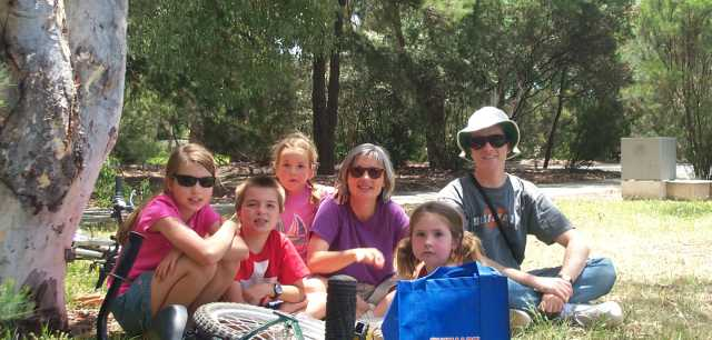 Keller-Tuberg family picnicing on the banks of Lake Burley Griffin, Canberra